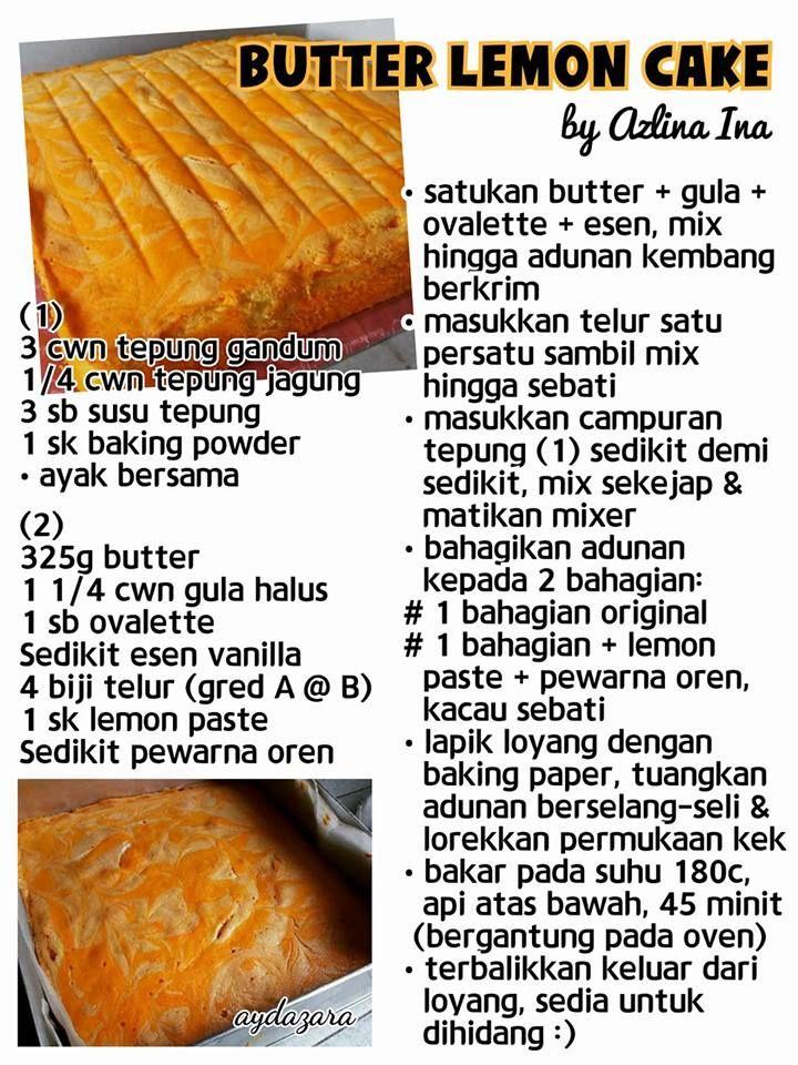 Butter Leon Cake Cake Recipes Lemon Recipes Cooking Recipes