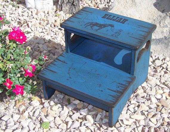 Personalized Two Step Stool, kid's stool, bathroom stool, wood stool for kid's