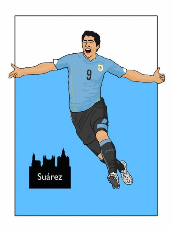 This listing is for a 16 x 12 print of my Luis Suarez Uruguay artwork. Printed on a quality matt photo paper, this is perfect for framing.    16 x