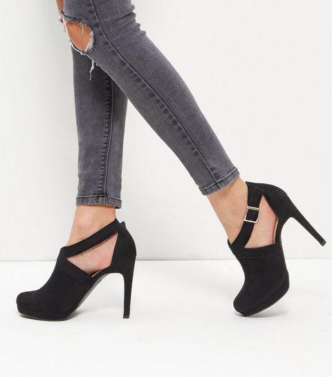 Black Suedette Sling Back Court Shoes