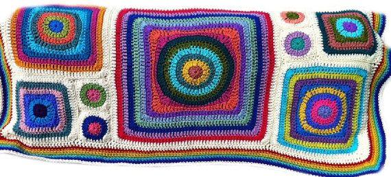 Ganchillo afgano arco iris de caleidoscopio círculos
