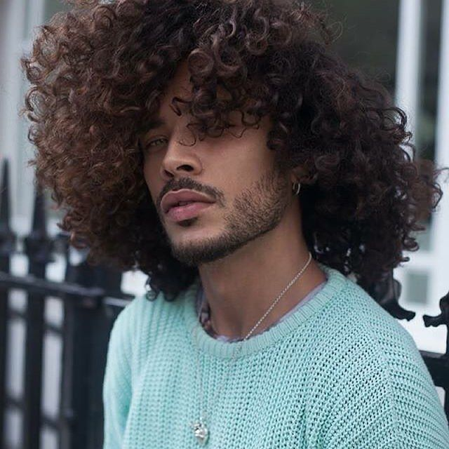 long curly hair men ideas