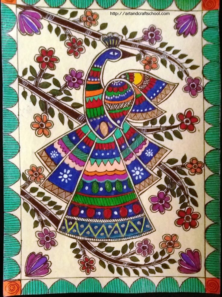 Madhubani peacock design More