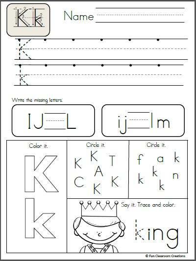 Free Alphabet Letter K Writing Practice