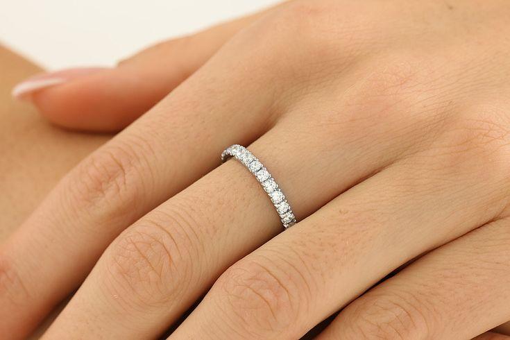 Inel Eternity/Verigheta cu Diamant Dama Aur Alb 18kt cu Diamante Rotund Brilliant de jur imprejur - RDW114W