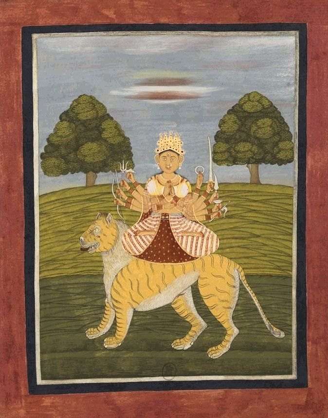 Durga. Album from Bengal, perhaps Chandannagar, 1760.