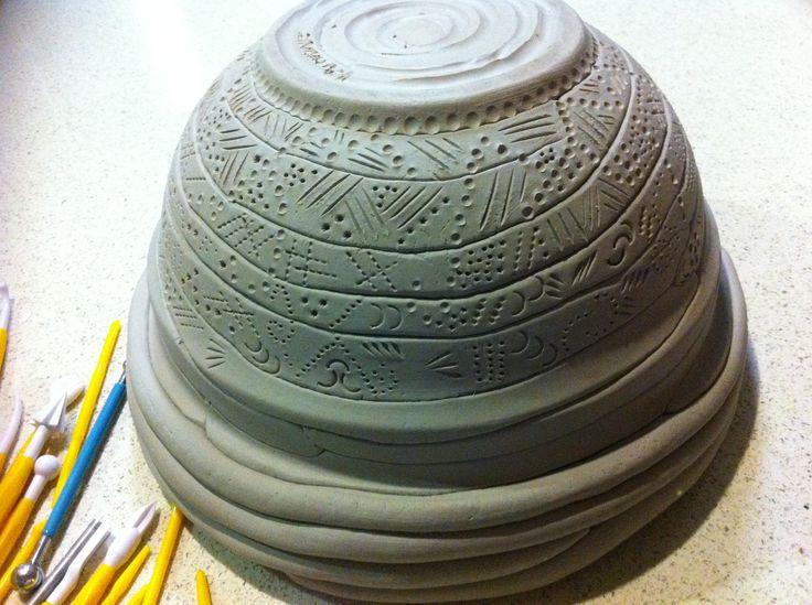 Paper Clay Concave Mould Coil Pot