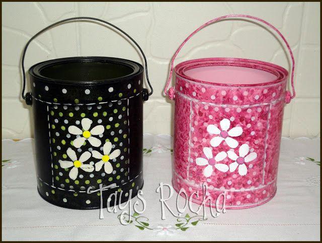 Tays Rocha: Reciclagem - Latas florais em decoupage e pintura