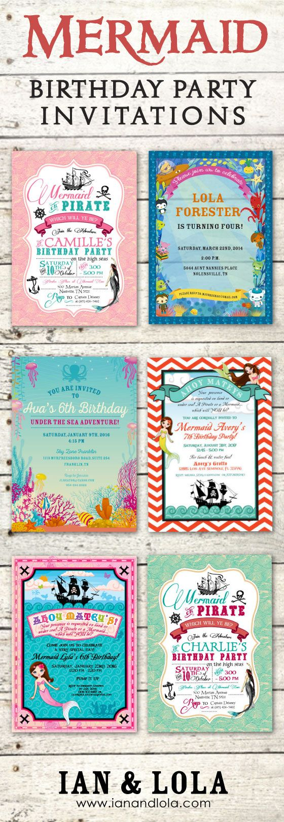 Unique and customizable mermaid and pirate party invitations at Ian and Lola. Purchase a customized digital DIY file or we print them for you on premium matte card stock. Add a photo, change the color scheme and graphics for no additional charge. Bespoke or fully custom designs available for $25.