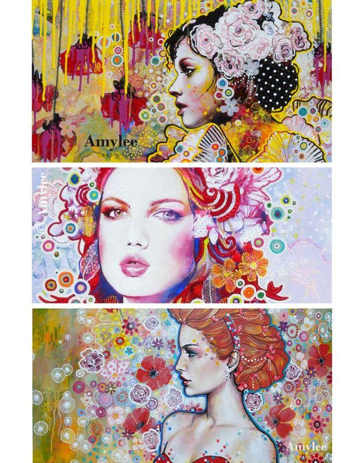 Tableau d'Amylee, art contemporain, portrait femme peinture www.amylee-paris.com