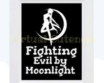 Sailor Moon Inspired Art - Fighting Evil By Moonlight - Anime Wall Art Room Decor, Instant Download, Printable DIY Art Print 5x7 and 8x10