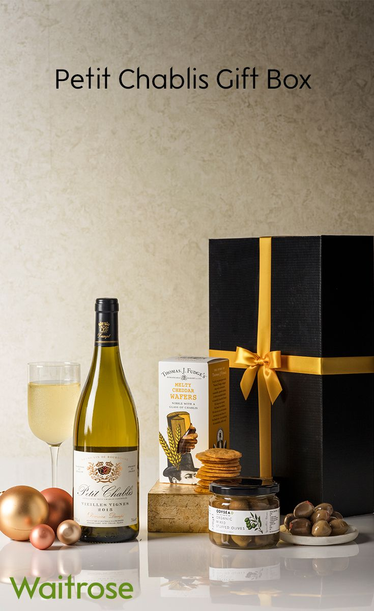 Ideal as a winter evening snack with friends, this savoury selection contains a citrussy Chablis, along with pimento and garlic olives and Cheddar cheese wafers. For more inspiration see the Waitrose Gifts website.