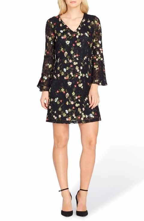 6150fbb60b7d Tahari Embroidered Bell Sleeve Shift Dress | Pretty Dresses ...