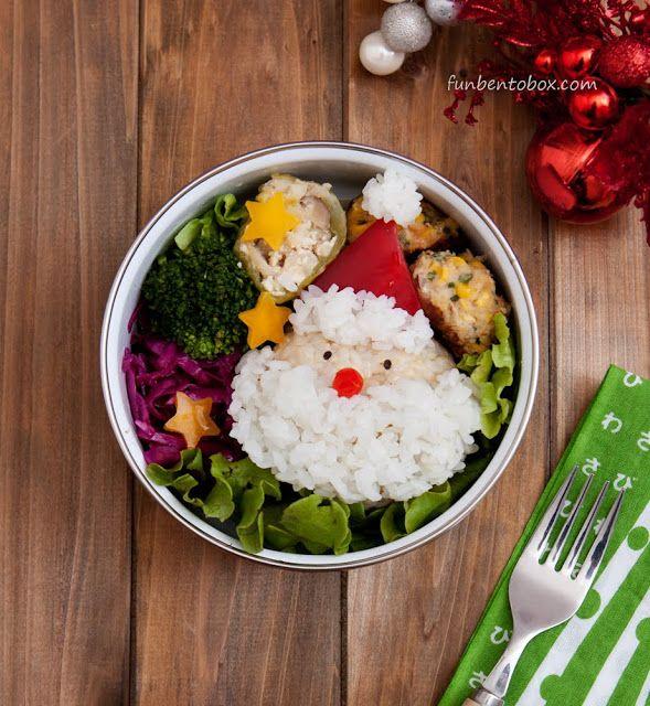 Santa Claus Rice Ball Bento Box #chirstmas #vegan #kids