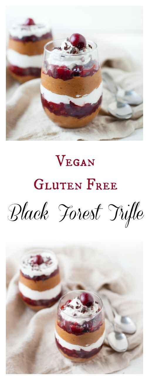 Rich, decadent and 100% plant-based! This vegan gluten free black forest trifle is so delicious and good-for-you that you could eat it up for dessert with ZERO guilt.
