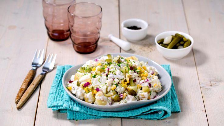 Oppskrift på Lettere potetsalat med mais