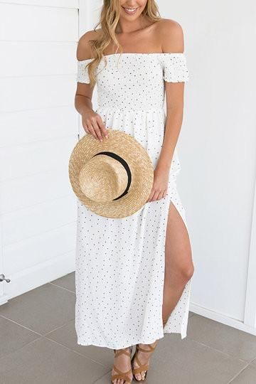 Put on the vintage wave point dress to decorate your overlook. The dress features off the shoulder design, splited hem and short sleeves, showing a beach style. Throw it over a pair sandals and a stra