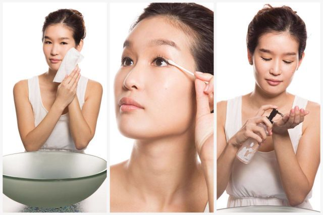 "The first half of the ever-popular Korean ""double cleanse"" method involves removing the day's BB cream and blush with a nutrient-rich towelette to erase every trace of eye makeup with a liquid remover. Next, draw out sebum and bacteria using a gentle oil cleanser and lukewarm water. ""Oil eliminates impurities without drying out your skin,"" shares Cho. Innisfree Olive Real Cleansing Tissue, $7; sokoglam.com and The Faceshop Rice Water Cleansing Light Oil, $13; sokogglam.com"