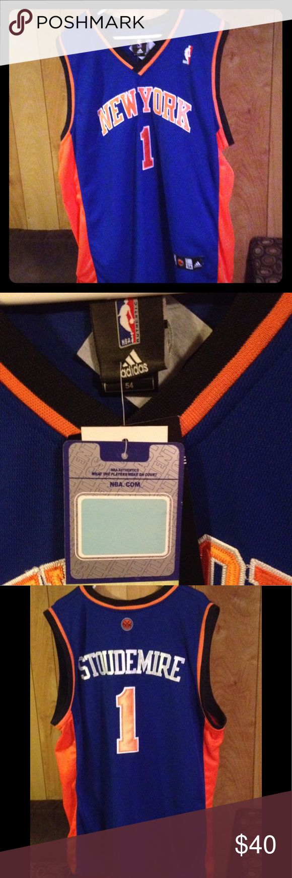 NY Knicks Jersey PLEASE MAKE SURE ITEM IS STILL AVAILABLE BEFORE PURCHASING   NWT,Sz 54,Stoudemire #1 jersey blue orange white black. FAST SHIPPING SAME OR NEXT DAY MON-SAT,OFFERS ARE WELCOME,BUNDLE AND SAVE.  10% off 2 adidas Shirts
