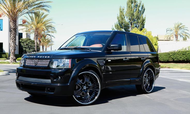 """Lexani Wheels, the leader in custom luxury wheels. 2010 black Range Rover Sport with 24"""" black and stainless steel with brilliant etch LT-703"""