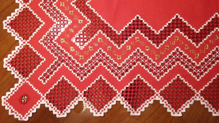 Red Christmas tablecloth detail