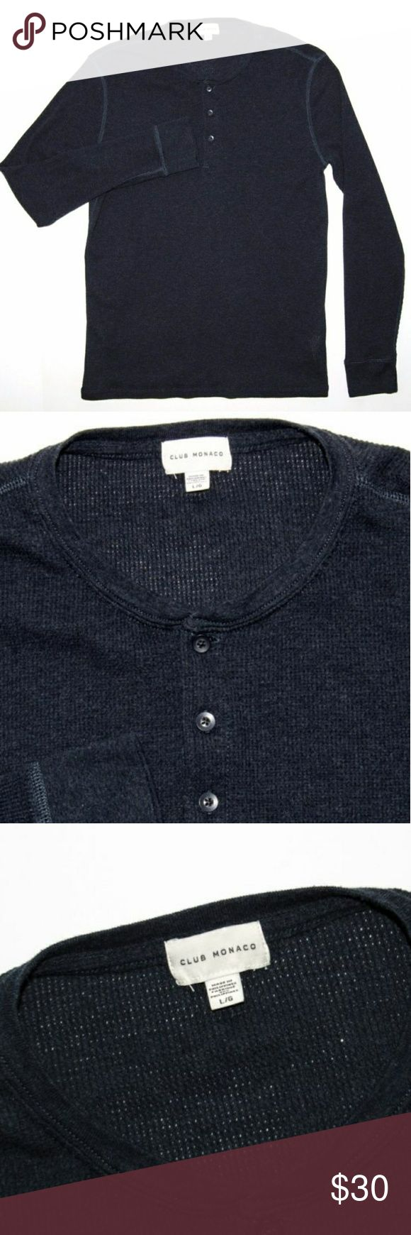 CLUB MONACO Henley SHIRT Navy blue size large CLUB MONACO Henley SHIRT Navy blue size large cotton polyester Club Monaco Shirts Sweatshirts & Hoodies