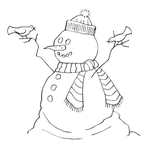 Frosty Snowman With Birds Coloring For Kids