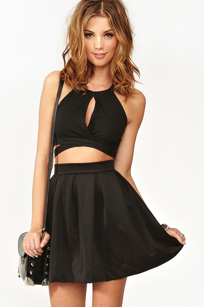 Scuba Skater Skirt in Black... Amd cute top! Money saving tips for mix and match cos it looks like a dress