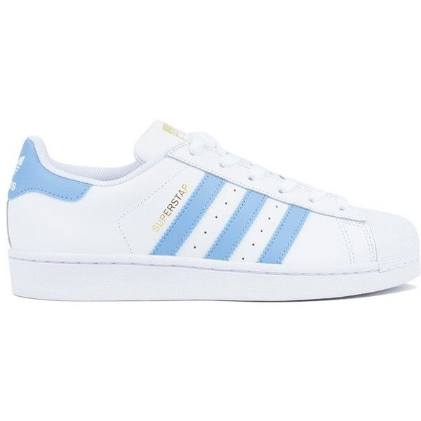 ADIDAS WOMENS SUPERSTAR IN WHITE & BLUE ($80) ❤ liked on Polyvore featuring shoes, striped shoes, adidas shoes, leather upper shoes, adidas footwear and herringbone shoes