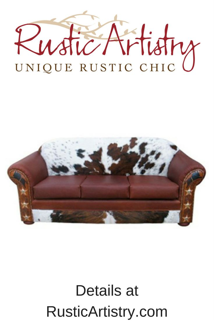 Lone Star Sofa - A rugged western cowhide and leather sofa with a twist: custom artwork and star embellishments adorn the arms to make the Lone Star sofa rise above the rest. Custom made. Other colors and artwork available upon request. Can be made as a LOVE SEAT, CHAIR or OTTOMAN as well. https://rusticartistry.com/product/lone-star-sofa/  #rustic #rusticdecor #western #westerndecor #cowhide #furniture
