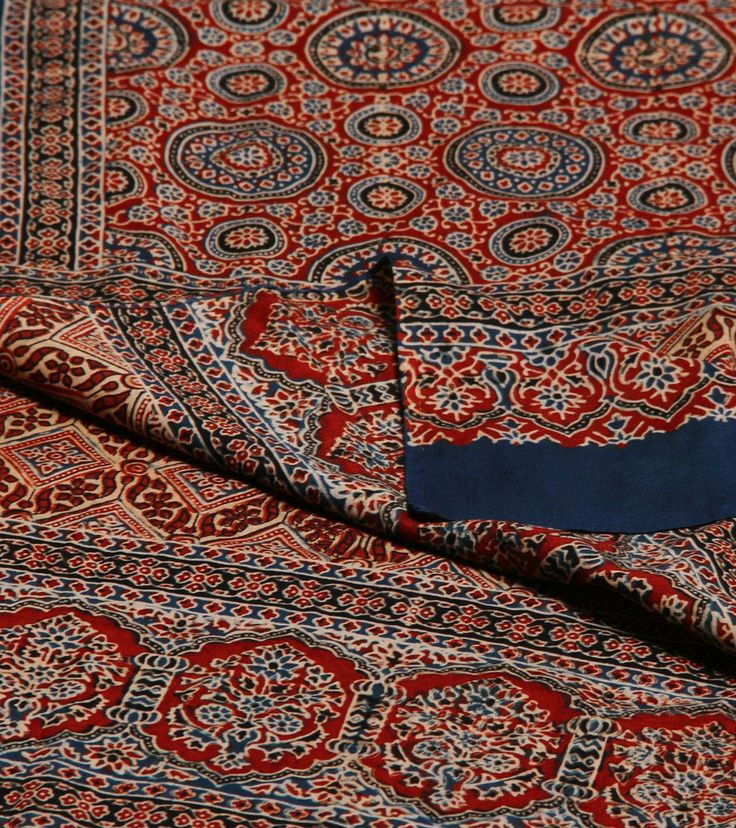 Navy Blue & Maroon Ajrakh Printed Cotton & Tussar Stole