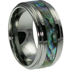 Epic Abalone Colored Shell Rings $239~ Epic is a Tungsten Carbide Ring with a step down edge. The Epic is inlaid with an #Abalone #Shell inlay.   Shell is very beautiful, however the shell is not warranted. The shell becomes fragile if dropped on a hard surface floor or a ceramic floor containing the component silicon carbide.via- http://www.forevermetals.com/shell-tungsten-bands/epic-abalone-colored-shell-rings/ #tungsten #carbide  #rings