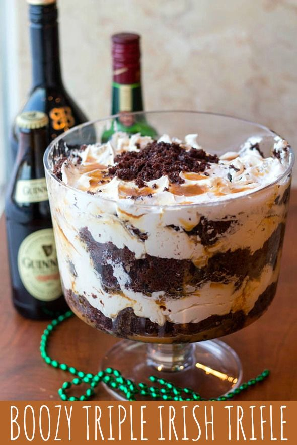 """Celebrate St. Patrick's Day with this Boozy Triple Irish Trifle Recipe! (A """"21 and over"""" dessert!)"""