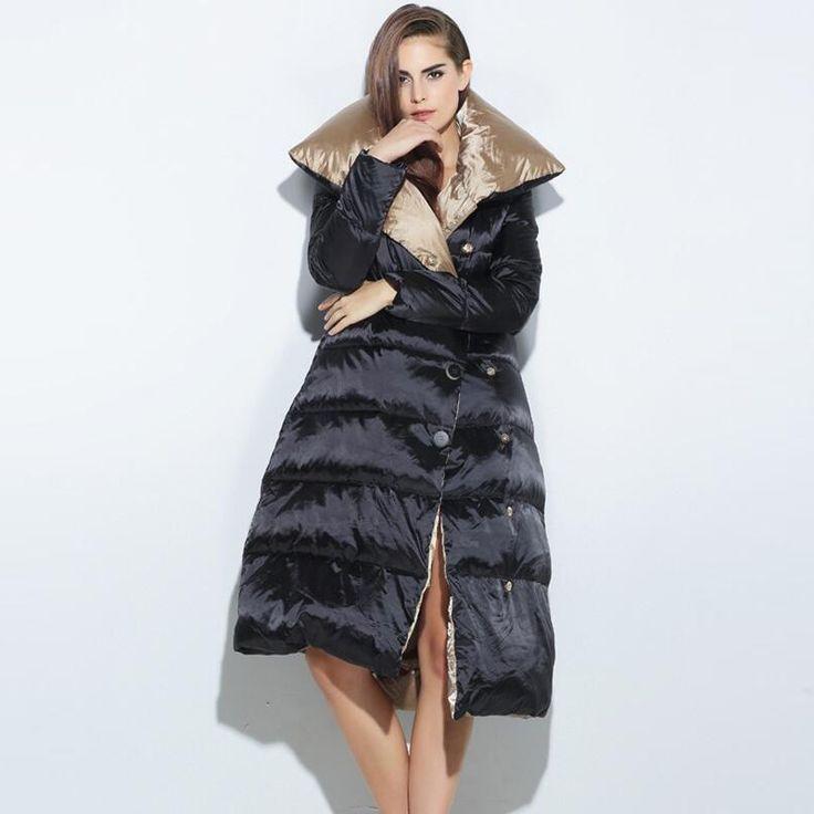 Women Down Coat Jacket 2016 Winter Luxury Woman Long White Duck Down Parka Loose Winter Coat Women New Arrival Winter Collection