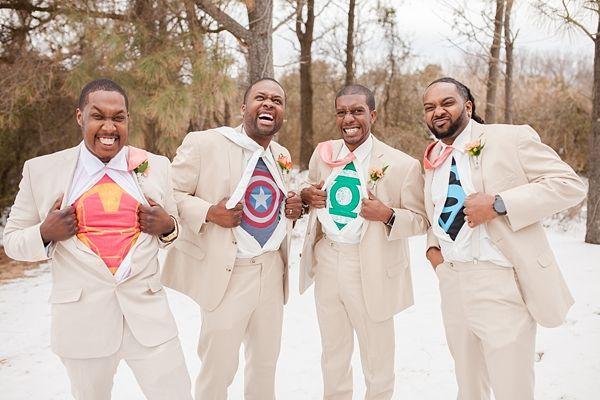 Fun groomsmen turned superheroes