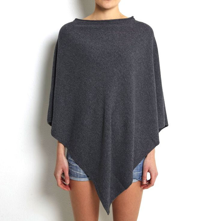 Poncho dark grey cashmere www.wildwool.no