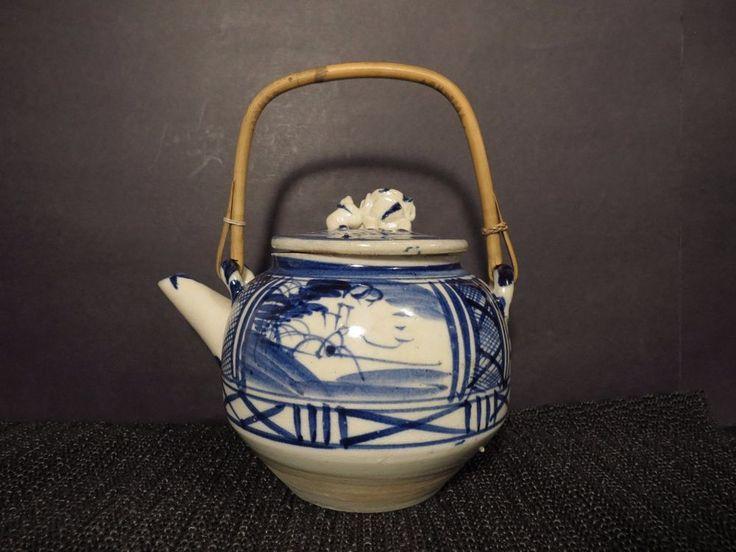 """Pottery Teapot 6"""" Blue White Kettle Oriental Asian Ceramic Stoneware   #Unknown"""