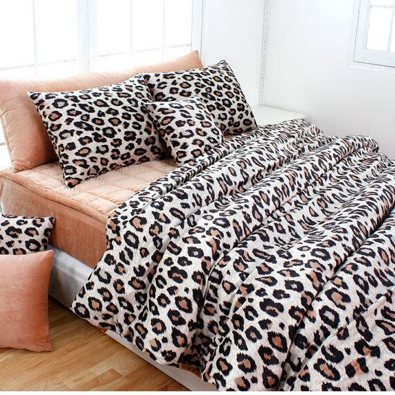 Beige Brown Leopard Microfiber King Duvet Cover Set by BHDecor, $235.95