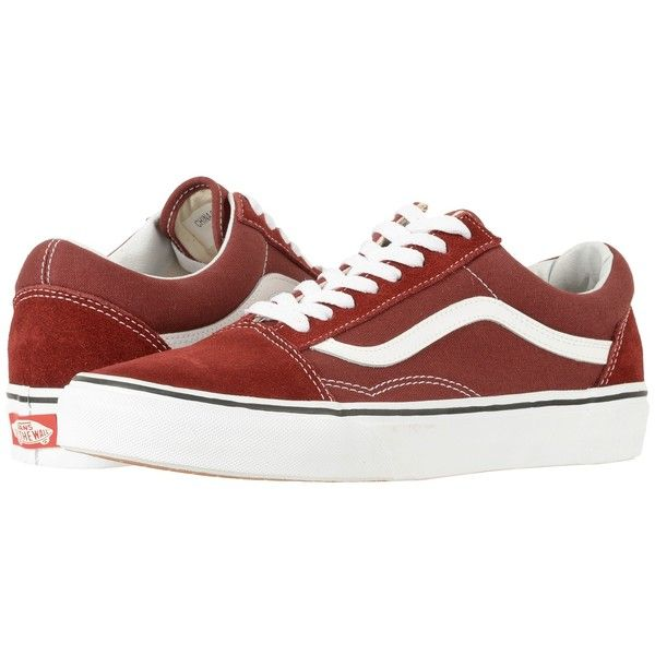 Vans Old Skool (Madder Brown/True White) Skate Shoes ($60) ❤ liked on Polyvore featuring shoes, brown leather shoes, breathable leather shoes, genuine leather shoes, vans footwear and white skate shoes