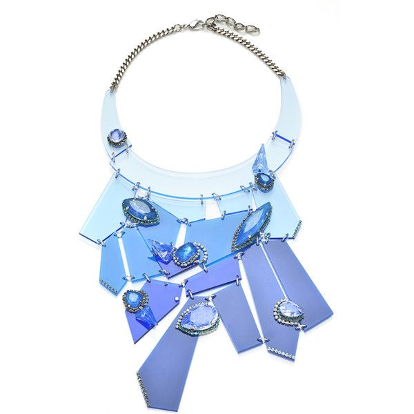 Erickson Beamon: Who Are You? Blue Ombre Abstract Bib Necklace (34 510 UAH) ❤ liked on Polyvore featuring jewelry, necklaces, accessories, multi, colorful necklace, erickson beamon necklace, multi colored bib necklace, ombre necklace and geometric necklace