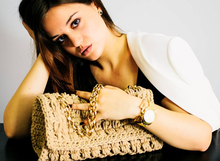 beige crochet bag