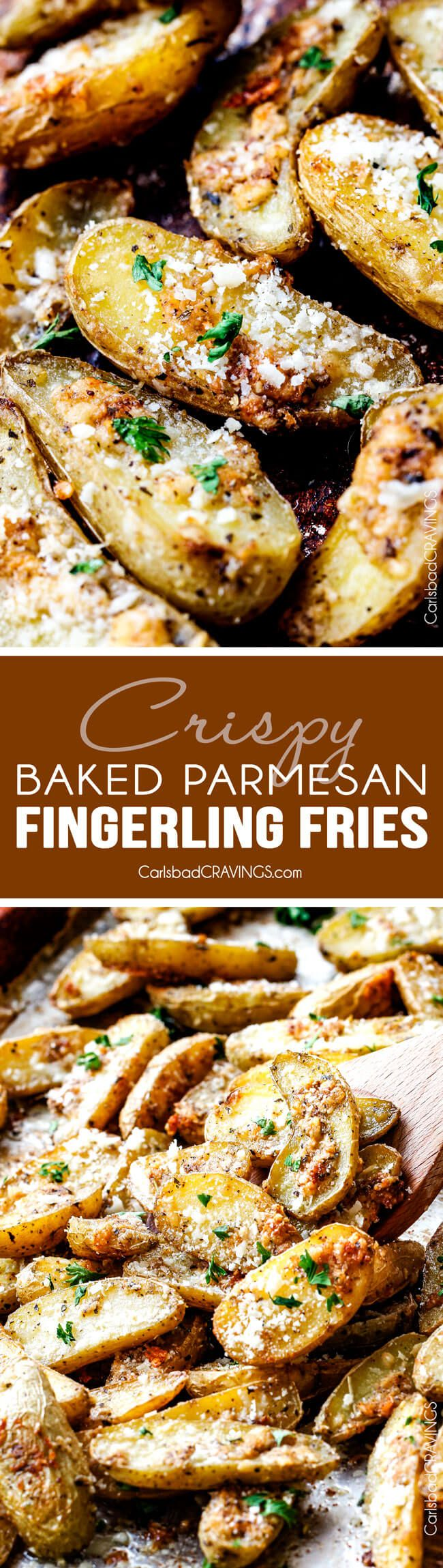Easy baked Parmesan Fingerling Potato Fries with a crispy exterior and creamy buttery interior spiced to perfection make the perfect appetizer, snack or side you won't be able to stop munching!  via @carlsbadcraving