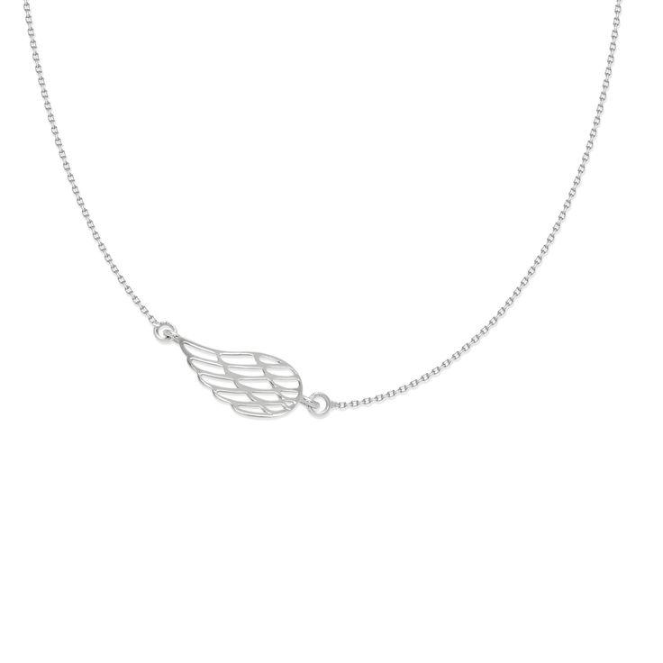Naszyjnik ze srebrnym ażurowym skrzydłem na łańcuszku