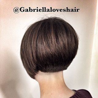 """Graduated bob on dark brown hair with nape blocked above natural hairline - (""""13440 