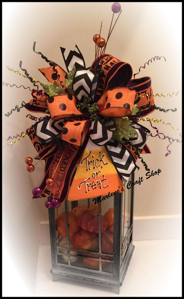 Halloween Lantern Swag, Halloween Wreath accent bow, Candy Corn decoration,Halloween Decoration, Halloween Lantern topper,candy corn bow by MarlenesCraftShop on Etsy