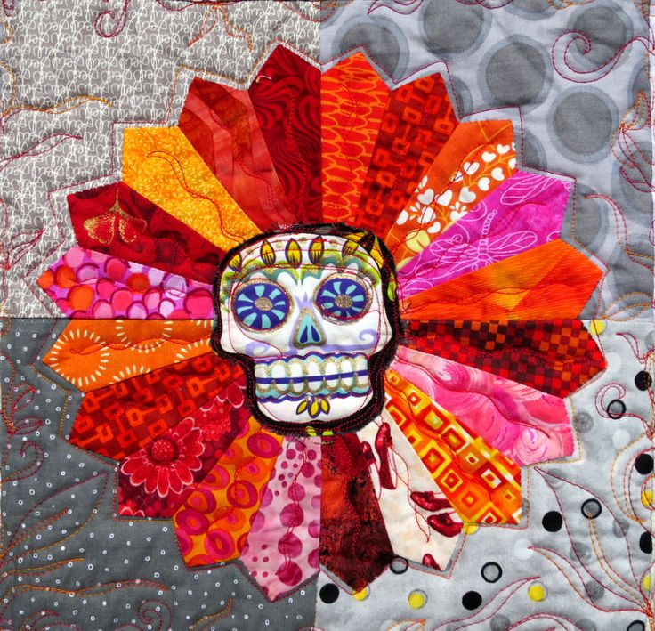 "Detail, ""Day of the Dead Dresdens"" quilt by Opal Cocke.  2015 Sisters Outdoor Quilt Show.  PHoto by First Light Designs."