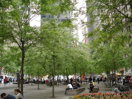 We ate slices of Steve's Pizza in Zuccotti Park before walking to the 9/11 memorial.  Despite its Occupy Wall Street reputation, it was much more contemplative sitting there eating pizza than moving along with the crush of tourists at the 9/11 site. http://en.wikipedia.org/wiki/Zuccotti_Park http://www.911memorial.org/ http://www.yelp.com/biz/steves-pizza-new-york