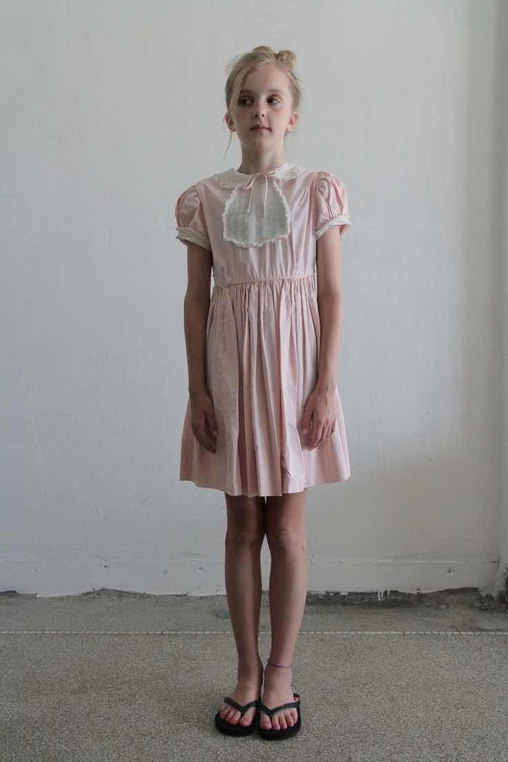1950s Little Girls Dress Pale Pink Eyelet Lace Bib