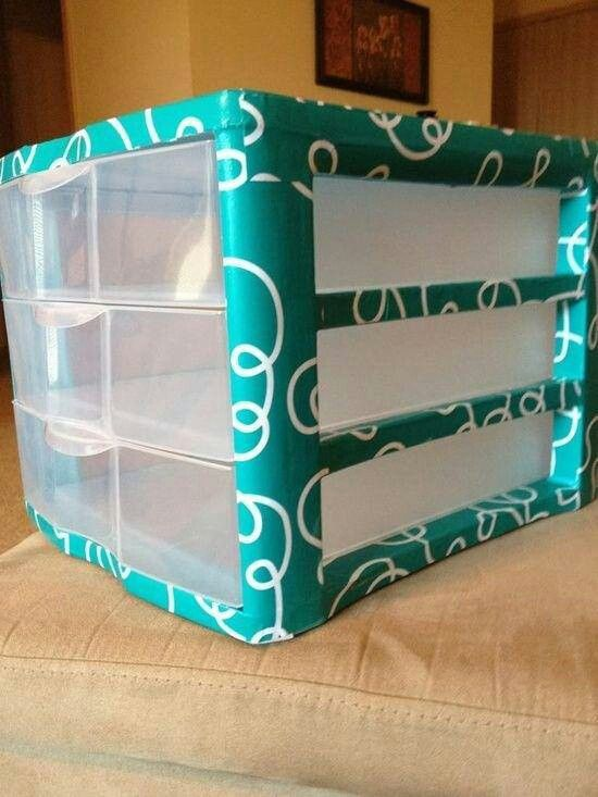 Decorative duct tape on boring plastice drawers.