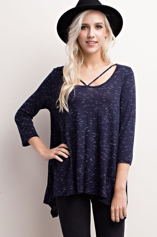 Strappy is on trend right now, and the Navy Marled Strappy Top is perfect! Wear this navy top with black distressed skinnies and a black hat for an edgy outfit for that concert coming up or pair with booties and denim for class!  Navy Marled Strappy Top - Single Thread Boutique, $34.00 #navy #marled #strappy #top #three #quarter #sleeve #white #scoop #neck #simple #strap #detail #loose #asymmetrical #hemline #womens #fashion #winter #trendy #singlethreadbtq #shopstb #boutique